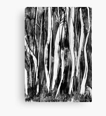 Spooky trees wax painting in black and white by UK artist Canvas Print