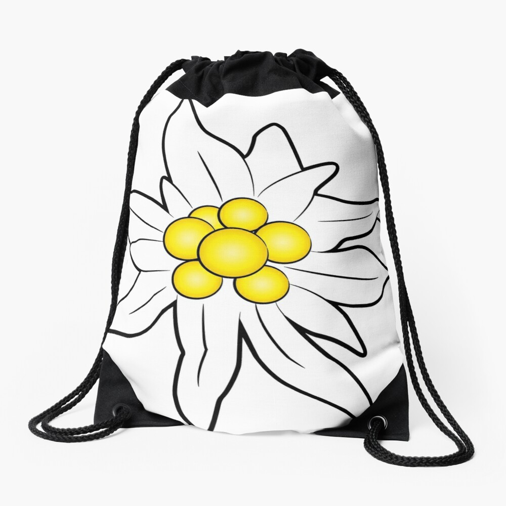 Edelweiss flower Drawstring Bag