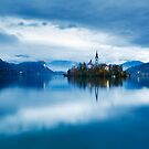 Autumn dusk at Lake Bled by Ian Middleton