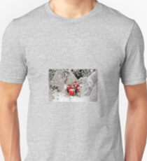 Santa Claus riding a motorcycle in a snow forest Unisex T-Shirt
