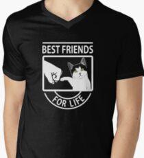 Katze beste Freunde für das Leben T-Shirt mit V-Ausschnitt