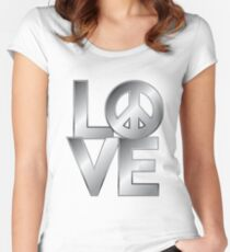 Metallic LOVE=Peace Women's Fitted Scoop T-Shirt