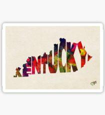 Kentucky Typographic Watercolor Map Sticker