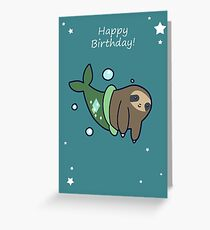 Happy Birthday Mermaid Sloth Greeting Card