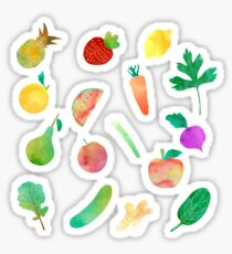 Watercolor Fruits and Vegetables Sticker