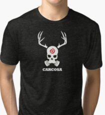 True Detective - Carcosa Gas Mask - White Tri-blend T-Shirt