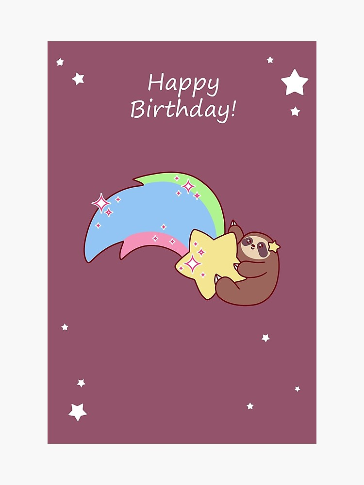 Happy Birthday Rainbow Shooting Star Sloth Photographic Print By