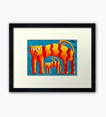 Curved Cats Framed Print