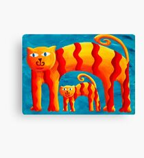 Curved Cats Canvas Print