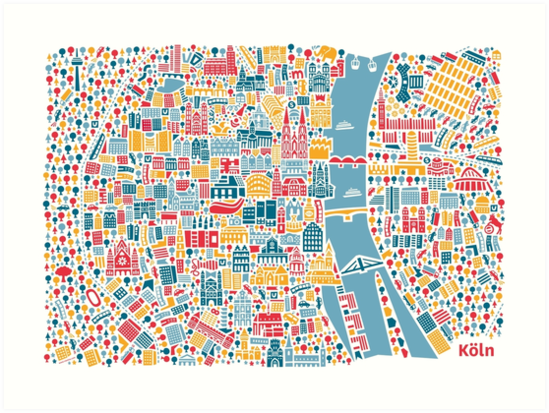 Cologne City Map Poster Art Prints by Vianina Redbubble
