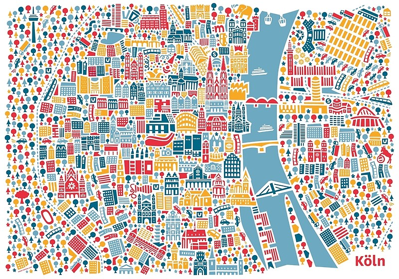 cologne city map poster by vianina redbubble. Black Bedroom Furniture Sets. Home Design Ideas