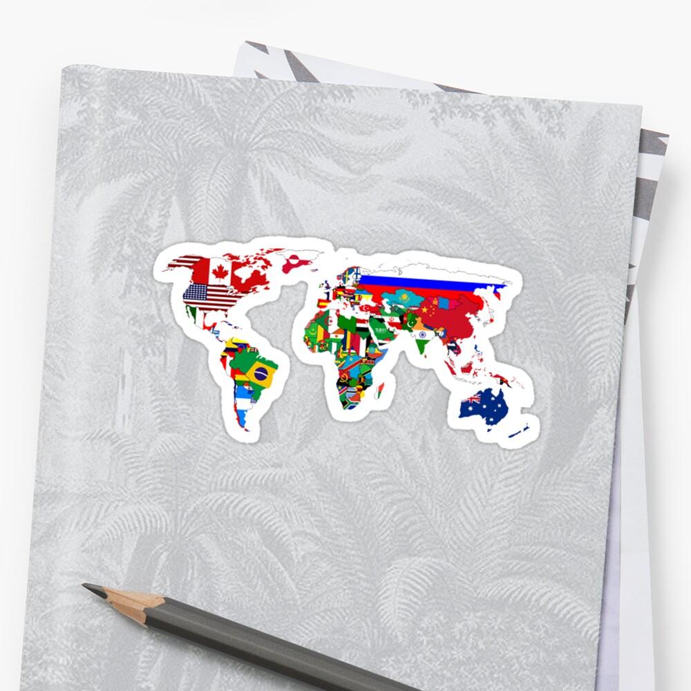 World Flags Map Sticker