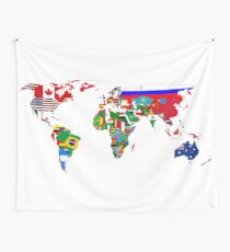 World Flags Map Wall Tapestry