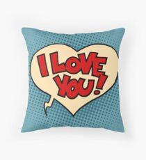 Comic bubble heart I love you Throw Pillow