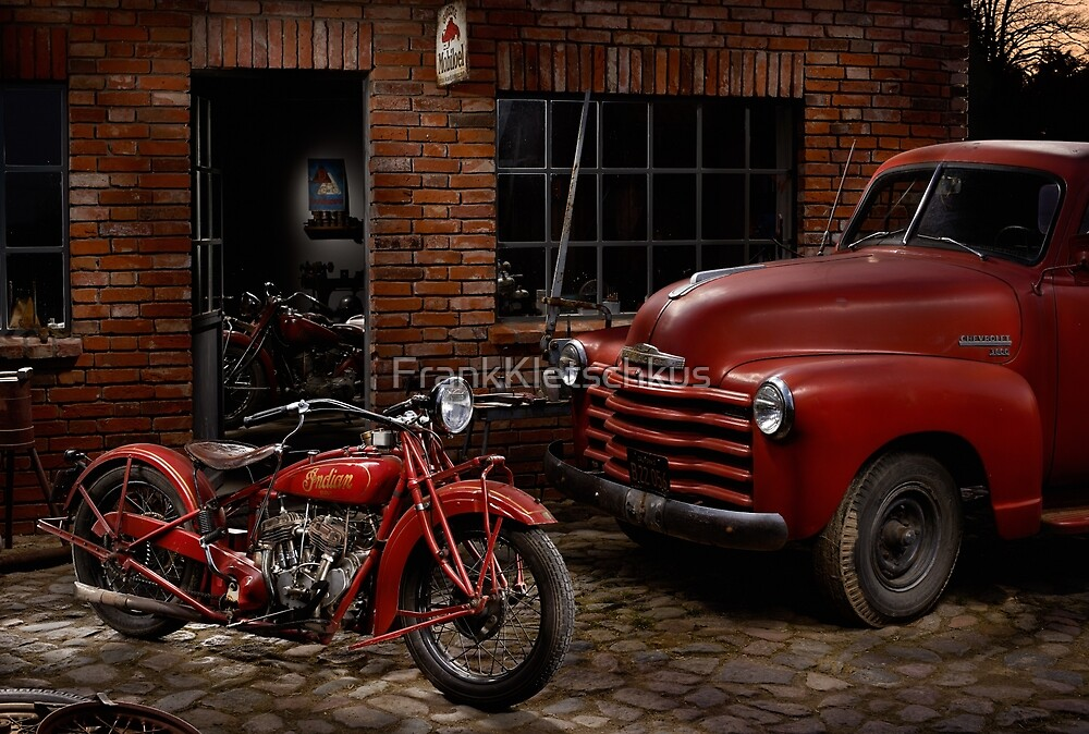 Indian 101 Scout and Chevy truck at a garage by FrankKletschkus