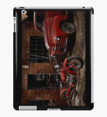Indian 101 Scout and Chevy truck at a garage iPad Case/Skin