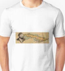 Fidel Castro on Cuba Map Unisex T-Shirt
