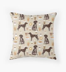 German Shorthair Pointer dog breed gifts custom pet portrait by pet friendly coffee lover Throw Pillow
