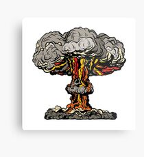 Nukleare Explosion radioaktive Pilz Pop-Art Metalldruck