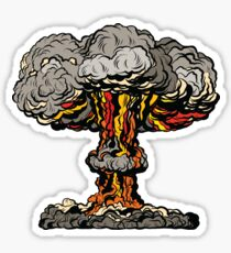 Nuclear explosion radioactive mushroom pop art Sticker