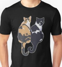 Best Cat Friends - Teal Background / blue calico tuxedo kitty sitting tails friends bffs portrait art illustration drawing Unisex T-Shirt