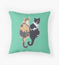 Best Cat Friends - Teal Background / blue calico tuxedo kitty sitting tails friends bffs portrait art illustration drawing Throw Pillow