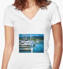 Boats In The Marina Women's Fitted V-Neck T-Shirt