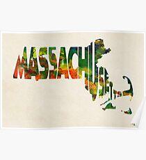 Massachusetts Typographic Watercolor Map Poster