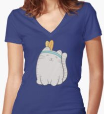 fin, the cat Women's Fitted V-Neck T-Shirt