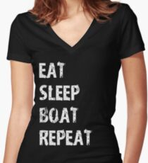 Eat Sleep Boat Repeat Sport Shirt Funny Cute Gift For Team Player Boating Boater Women's Fitted V-Neck T-Shirt