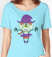 Scary Halloween Witch Emoticon Women's Relaxed Fit T-Shirt