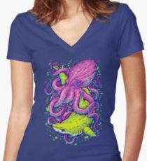 shark vs kraken Women's Fitted V-Neck T-Shirt