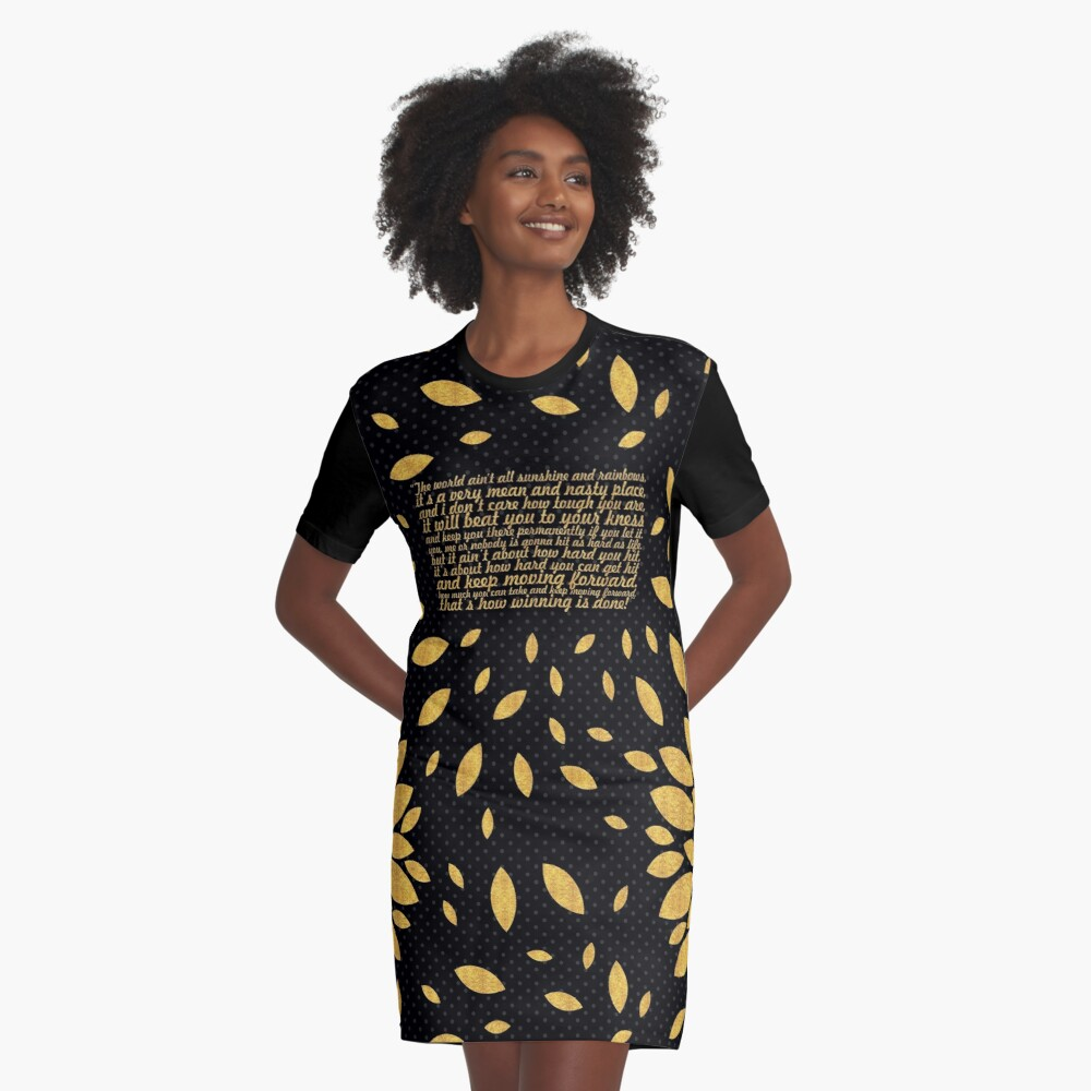 """The world ain't... """"Rocky Balboa"""" Inspirational Quote (Creative) Graphic T-Shirt Dress Front"""