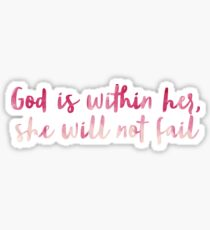 God Is Within Her, She Will Not Fail Watercolor Sticker