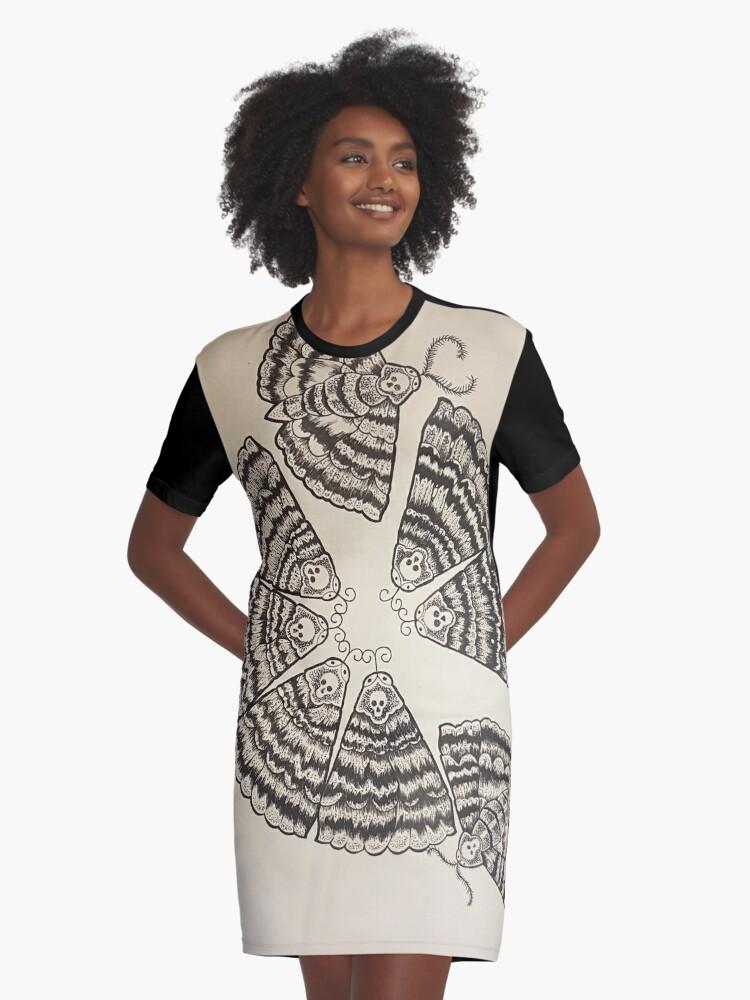 mothmandala Graphic T-Shirt Dress Front