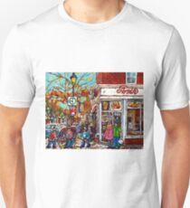 VERRDUN WINTER SCENE AMIR RESTAURANT MONTREAL URBAN CITY ART T-Shirt