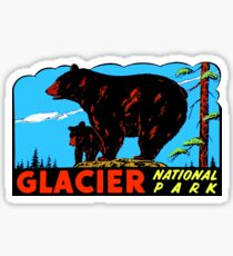 Bears at Glacier National Park Vintage Travel Decal Sticker