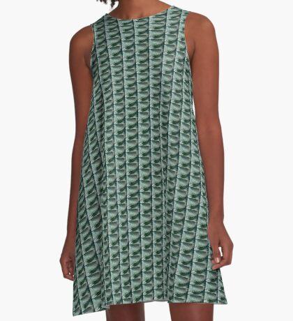 Green waves A-Line Dress