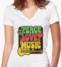 Rasta Peace, Love, Music Women's Fitted V-Neck T-Shirt