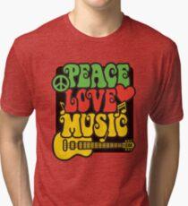 Rasta Peace, Love, Music Tri-blend T-Shirt