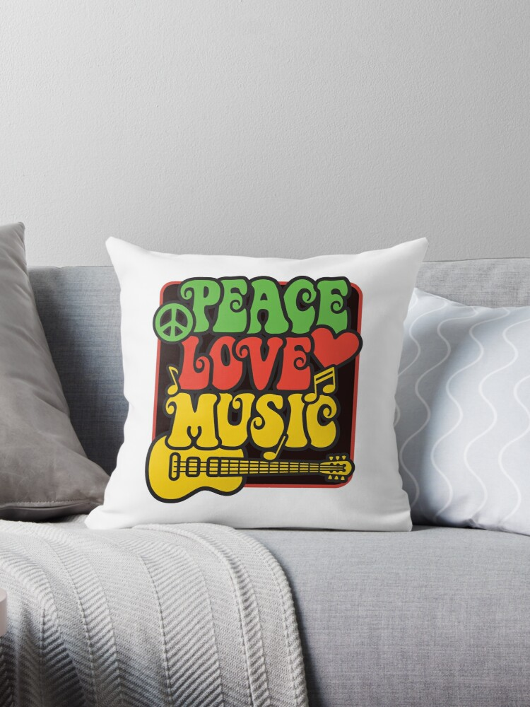 Quot Rasta Peace Love Music Quot Throw Pillows By Lisann Redbubble
