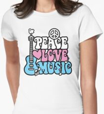 Peace, Love, Music Women's Fitted T-Shirt