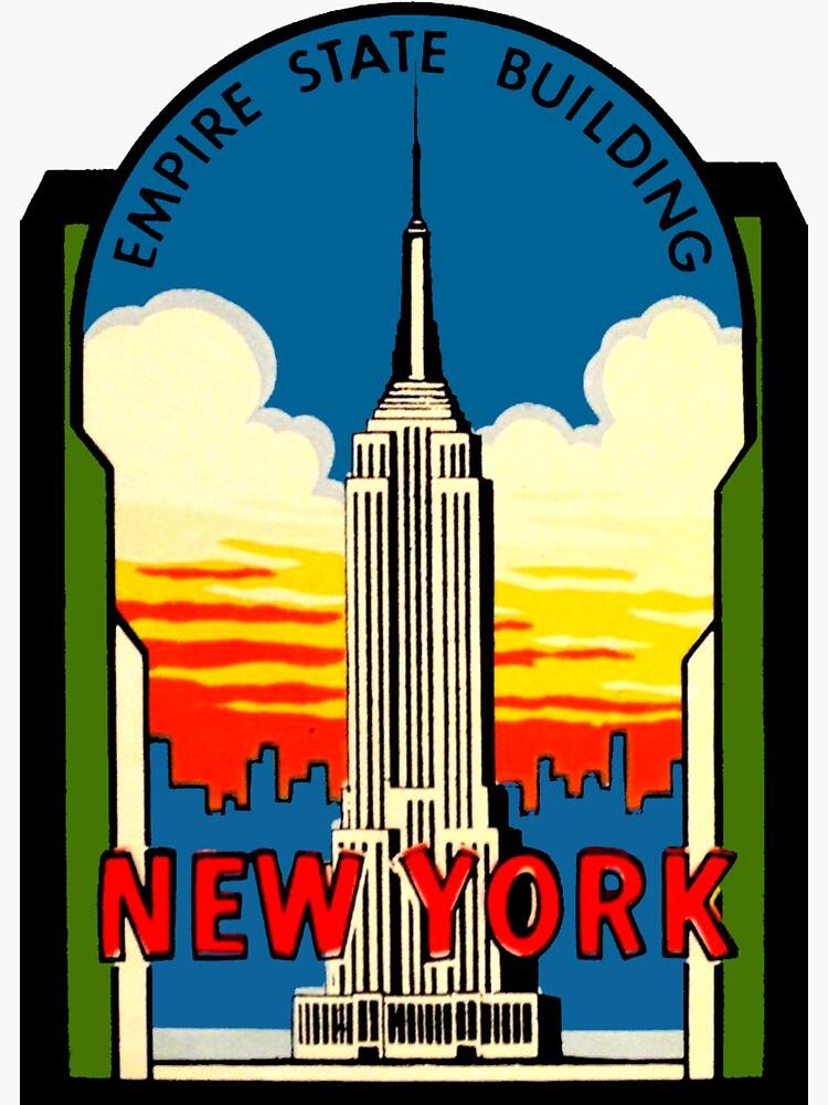 Empire State Building New York City Vintage Reise Aufkleber von hilda74