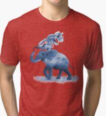 Blue Smoky Clouded Elephant Tri-blend T-Shirt