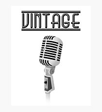 Vintage Microphone | with text Photographic Print
