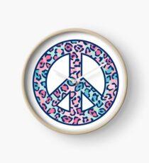 Leopard Print Peace Symbol Clock