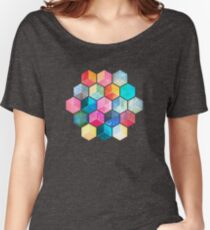 Crystal Bohemian Honeycomb Cubes - colorful hexagon pattern Women's Relaxed Fit T-Shirt