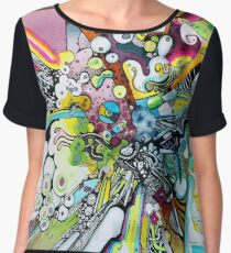 Tubes of Wonder - Abstract Watercolor + Pen Illustration Chiffon Top