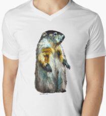 Winter Woodchuck (aka Groundhog) Mens V-Neck T-Shirt