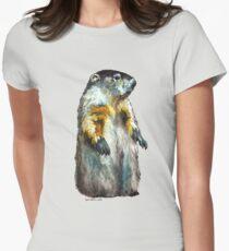Winter Woodchuck (aka Groundhog) Womens Fitted T-Shirt